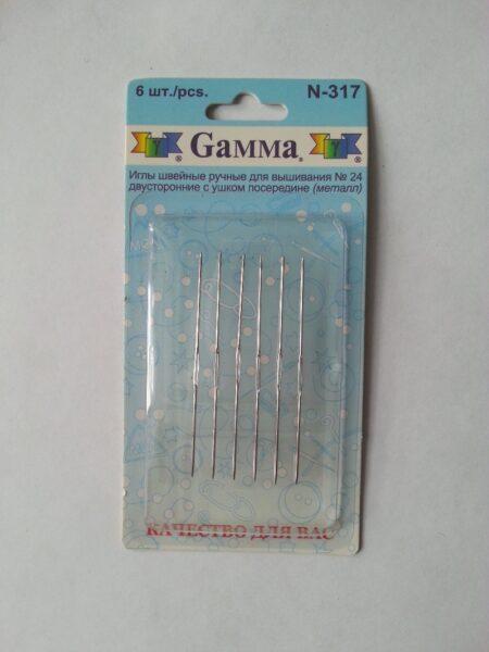 Иглы для ручного вышивания нитками МУЛИНЕ ( с ушком посередине )