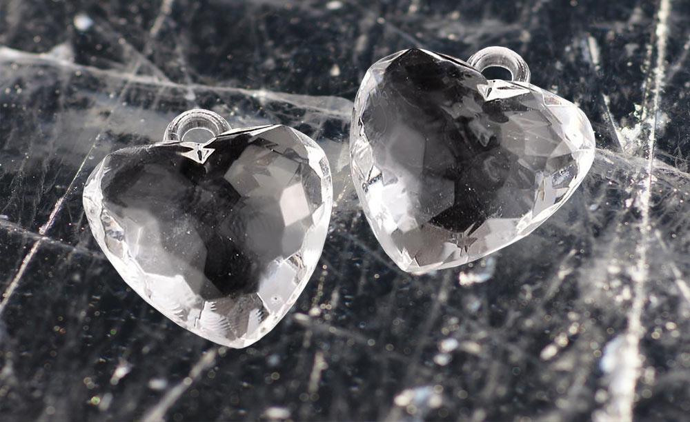 бусины сердечки прозрачные