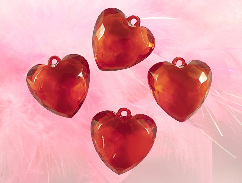 сердечки бусины красные