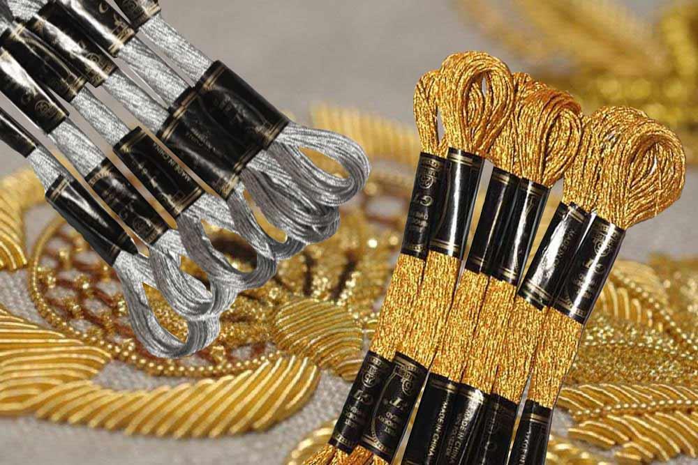 вышивка золотые серебряные мулине