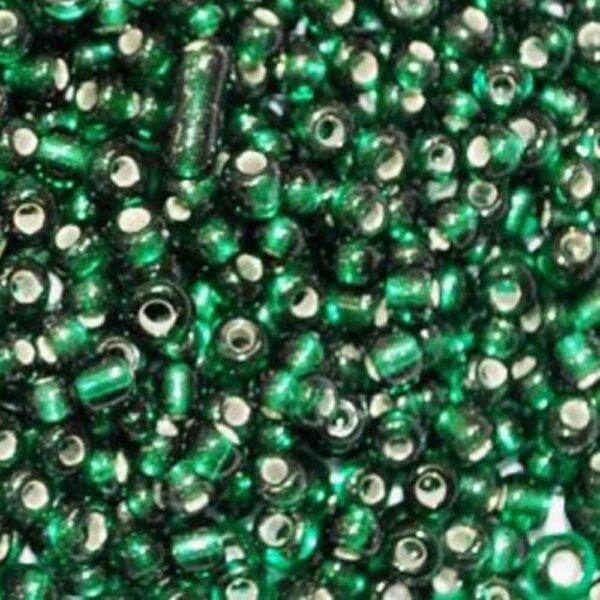 Бисер-круглый-зеленый-прозрачный-53A-размер-6